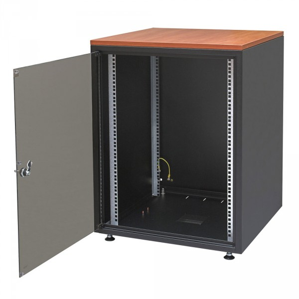 ZPAS WZ-3987-01-02-161 Шкаф напольный серии SJB, 19-дюймовый (19), 12U, 604x600х600мм (ВхШхГ), стекл. дверь, цвет черный (RAL 9005) , столешница Calvados, нагрузка 30 кг (собранный)19-дюймовые шкафы серии SJB